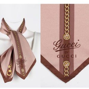 Gucci Pink Brown and Gold Chain Silk Scarf